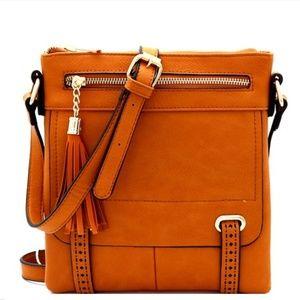 Handbags - Laser-Cut Detail Tassel Pocket Cross Body